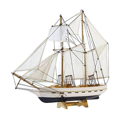 ZLBYB Holzschiff Modell Marine Holz Maritime Boot nautischen Segelschiff Home Desk Dekoration Dekor Handwerk zufällige Grundfarbe