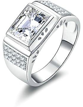 (Custom Ringe)Adisaer Ring 925 Sterling Silber Herren Ringe Drei Linien Zirkonia Rechteck Trauringe Ehrringe Elegant