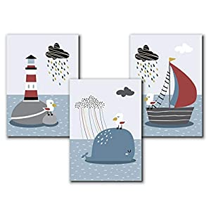 Bilder maritim Kinderzimmer   A4 Kinderbilder   Poster Set   Deko