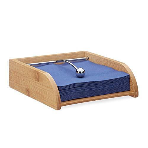 Relaxdays 10024199 Serviettenhalter Holz, für 33x33 Servietten, mit Beschwerer, flach, Tisch Serviettenablage, aus Bambus, Natur