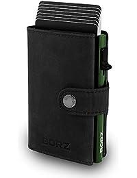 BORZ Prime ® MAXUS Mini Wallet Herren Damen (mit Münzfach) | Slim Wallet Credit Cardholder | RFID Schutz | Premium Geldbörse