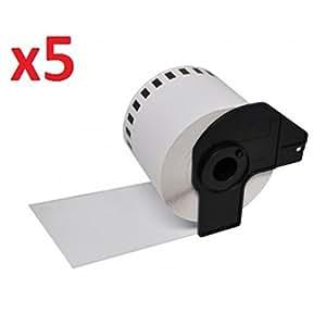 Prestige Cartridge DK22205 Endlos-Etiketten kompatibel zu Brother P-Touch QL-550/QL-560/QL-570/QL-1050, 62 mm x 30.48 m, 5 Rollen, weiß