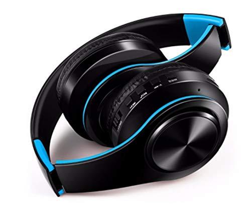 Cuffie senza fili pieghevole per wiko view smartphone bluetooth bottoni regolabile son universale (blu)