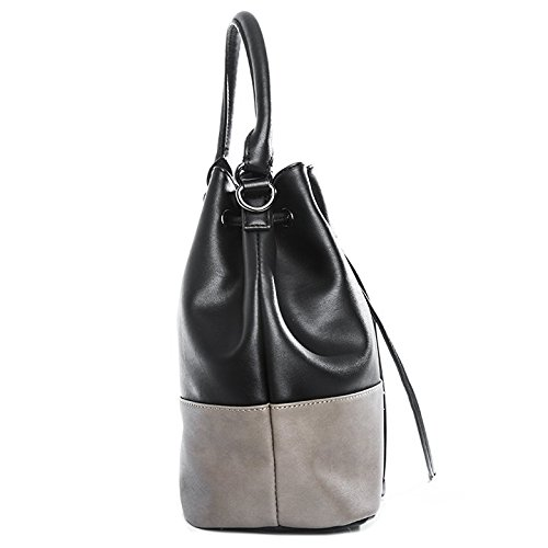 tragwert. Borsa a mano da donna Bucket Bag MIA nera - Borsa a spalla Borsa a tracolla Borsa a secchiello nero - taupe