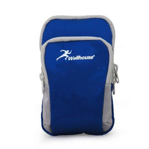 Greenery Sportarmband Handytasche Armtasche für iPhone Smartphone iPod MP3 MP4 Kamera Karten Sporttasche mit Reißverschluss Tasche für Sport Laufen Jogging Trekking Wandern Radfahren (S, Blau) Mp4 Sony Ericsson