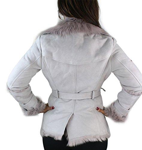 Damenjacke 100% Echtleder Grau Toscana Schaffell Trench Mantel Grau