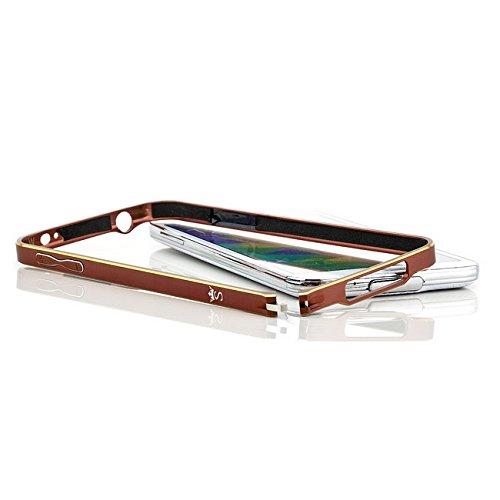 Coque iPhone 6 / 6S, Saxonia Case Housse Etui Bumper Cover Ultra Mince Aluminium avec bord Or - Noir Marrón