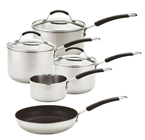Meyer Stainless Steel Induction Compatible Cookware Set, Silver, 5-Piece