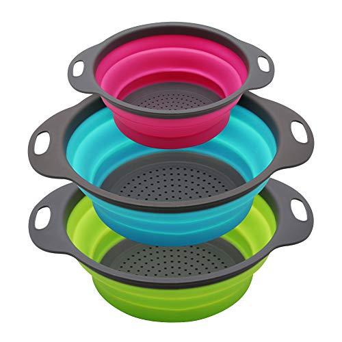 Philiwin 3-teiliges Küchensieb-Set, zusammenklappbar, zwei 1,9 Liter Siebe und ein 3,8 Liter Sieb, ideal zum Abtropfen von Nudeln, Gemüse, Obst (Grün, Blau, Violett)