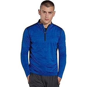 KomPrexx Longsleeve Herren Sport 1/4 Zip T-Shirt Langarm Trainingsshirt Funktionsshirt Langarmshirt Running Sweatshirt Pullover Laufshirt MC03T