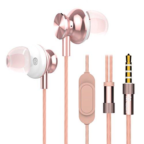 Cancelling Scharfe Noise Kopfhörer (Mijiaer, M30 geräuschisolierende Bass-In-Ear-Kopfhörer mit Mikrofon und Fernbedienung, In-Ear Headset, für iPhone, Samsung und Smartphones rose)