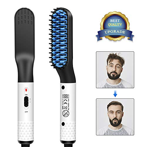 MOSUO Männer Schnelle Bartkamm, Bartglätter für Männer Haar Glätter Kamm Elektrische Bartbürste multifunktionale Heizung Glättbürste Glätteisen Haarglättung, Glätteisen Locken und Glätten