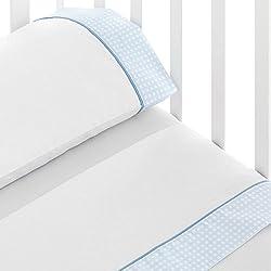 bebelindo Triptychon Bettwäsche Baumwolle Baby-Reisebett 60x 120cm) Bild blau