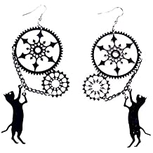 5d32e17b12f2 Joyfeel buy Pendientes Largos aretes Largos de Mujer acrílico Pendientes  con Gato Negro y Engranaje (
