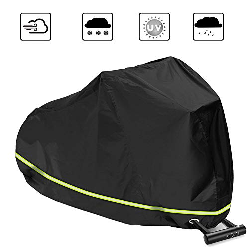 Fahrradabdeckung, Wasserdichter Fahrradgarage Motorradgarage Fahrradschutzhülle Regenschutz Schutzbezug Anti Dust Sun Regen Wind Proof UV Schutz, Reflektierende Streifen(240x70x110CM)