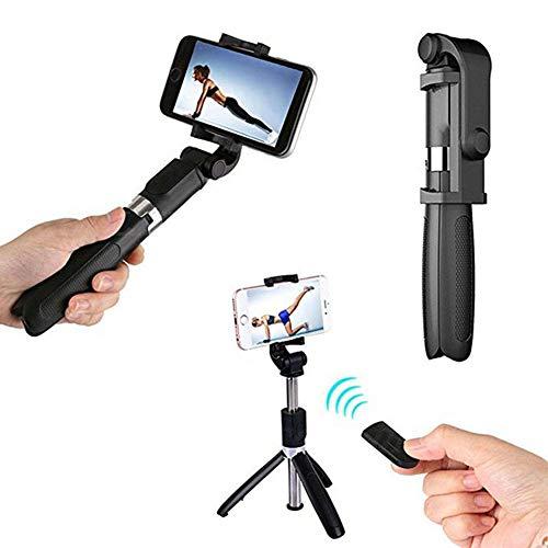LSDRHTJ Drahtlose Bluetooth Selfie Stick Shutter Remote ausziehbare Stativ Handyhalter für Android iOS für iPhone 6 7 8 Plus