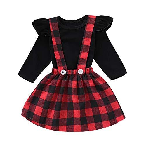 2 teile/satz Säuglingskleinkind 0-4Yrs Langarm T-shirt Top & Plaid Check Print Hosenträger Rock Kleid (Size : 100) -