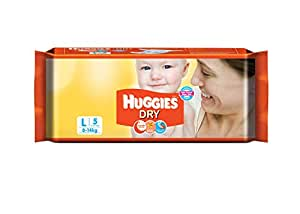 Huggies New Dry Diapers (Large)- 5 Count