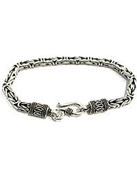 La Conchiglia - Bracciale Snake Argento Indiano Lavorato - Stile Bizantino - Uomo Donna