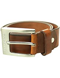 Milano Mens Full Belt Leather Black Brown Tan Silver Square Buckle 40mm