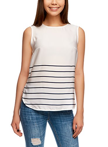 oodji Collection Donna Top Stampato in Tessuto Fluido, Bianco, IT