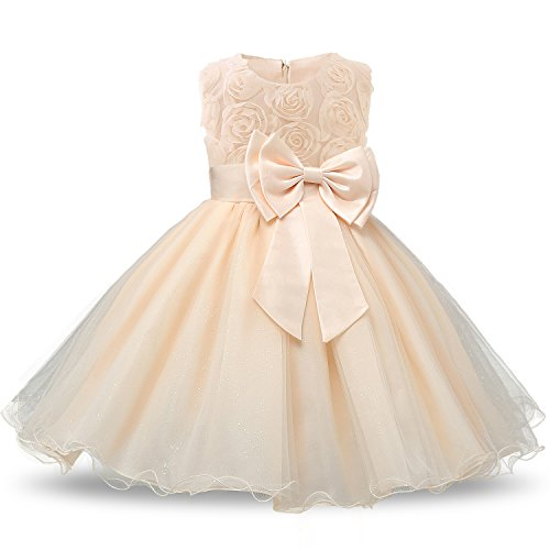 fcab8115e NNJXD Vestido de Fiesta de Princesa con Encaje de Flor de 3D sin Mangas para .