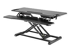 Exeta Höhenverstellbarer Steh-Sitz Tischaufsatz Schreibtisch. (Model 2019) Höhenverstellbarer Schreibtisch // in schwarz