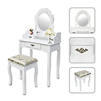 Todeco - Dressing Table, Make Up Table - Material: MDF - Mirror size: 15.7 x 21.7 inch - 3 drawers, oval mirror with moulding, White