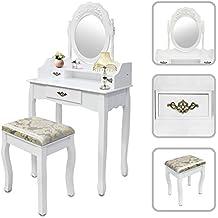 Todeco - Toletta Da Trucco, Tavolino Da Trucco - Materiale: MDF - Dimensione dello specchio: 39,9 x 55,1 cm - 3 cassetti, specchio ovale con modanatura, Bianco