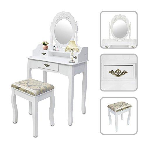 Todeco - Schmink-Kommode, Make-Up-Tisch - Material: MDF - Spiegelgröße: 39,9 x 55,1 cm - 3 Schubladen, ovaler Spiegel mit Profil, Weiß