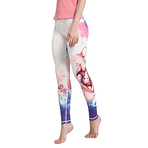 Legging Fonctionnel, Evedaily Femme Legging de Sport Yoga Pilate Jogging Fitness Randonnée Gym Pantalons Stretch à Motif de Constellation Verseau