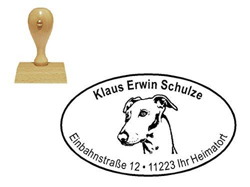 personalisierter Stempel Holzstempel « WINDHUND GREYHOUND KOPF » Motivstempel - Hund Haustier Whippet Lurcher -