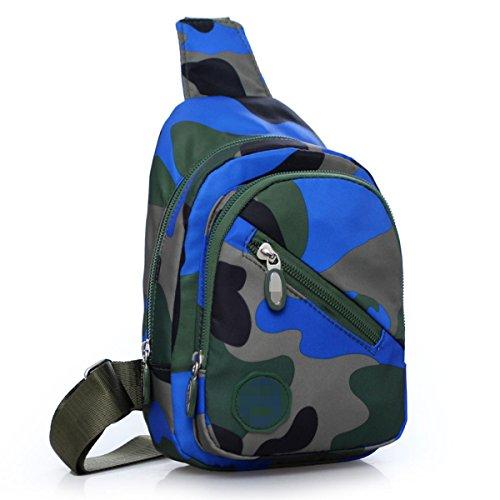 Unisex Dell'acqua Casuale Sacchetto Della Prova Di Corsa Esterna Mimetica Spalla Propenso Torace Borse Multicolore Blue