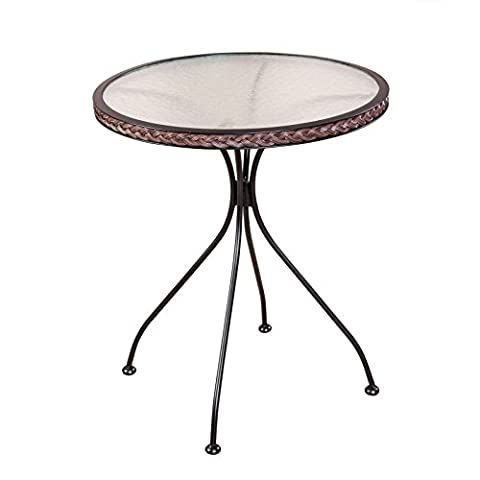 Bistrotisch rund Glastisch Gartentisch mit Rattangeflecht ca. 63 cm Beistelltisch