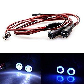 10mm 2Leds Engel Eyes & Demon Eyes LED Scheinwerfer Rücklicht für 1/10 RC Auto (Blau + Weiß) (Helle Halo-lichter)