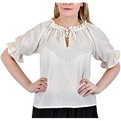 Blusa medieval - de mujer - manga corta - con encaje y ribetes de ganchillo - escote ajustable - tejido de algodón ligero - blanca - M