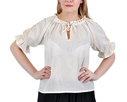 Weibliche Larp Kostüm - Elbenwald Bluse Mittelalter Damen Kurzarm mit Spitze Häkelborte Verstellbarer Ausschnitt Leichter Baumwolleollstoff Natur - XL