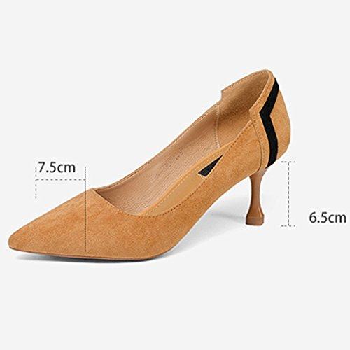 Hwf Chaussures Femme Chaussures À Talons Hauts Chaussures À Lacets Mi-talon Chaussures Femme Talons Aiguilles Fines Chaussures Simples Femme Noir (couleur: Camel, Taille: 37) Couleur Chameau