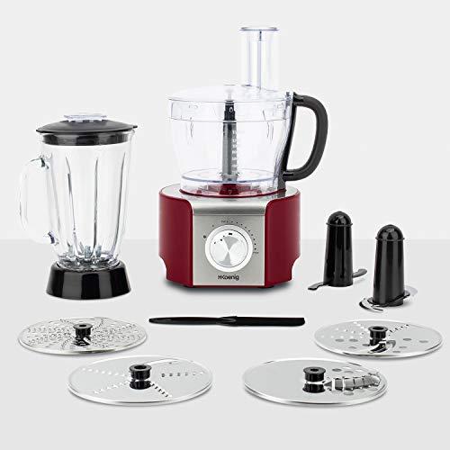 H.Koenig Robot de cuisine Multifonctions MX18 Rouge Professionnel Compact, Bol mixeur 1.5L, Blender en verre gradué 1.5L, 4 disques en acier+lame+spatule, 8 Fonctions, Puissant 800W