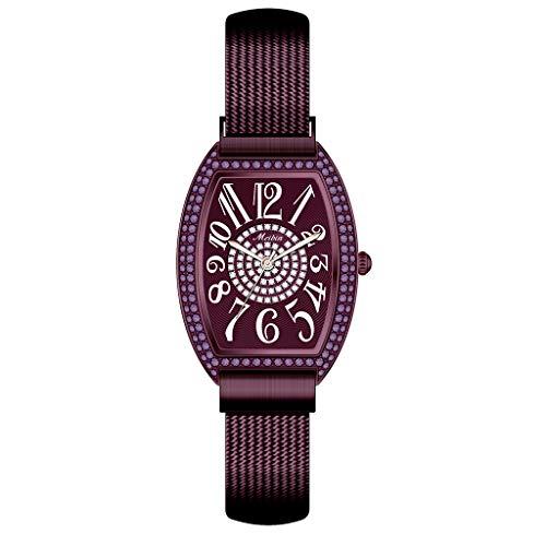 Saingace(TM) Damen Quarzuhr, Frauen Sleek Minimalist Uhr Elegante Analoge Quarz Armbanduhr Edelstahl Mesh Band mit Quadratischen Dial für Geburtstag Geschenke
