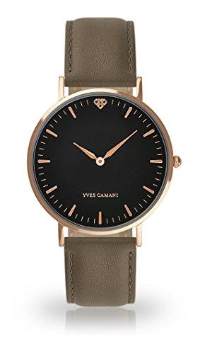 Yves Camani Amelie donna orologio da polso al quarzo analogico Rosegold quadrante cassa in acciaio nero–in pelle (grigio)
