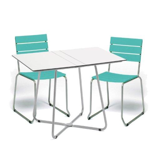 Weishäupl Balcony Gartenset, Einzelstück - türkis Gestell edelstahl Tisch weiß 2 Stühle 1 Klapptisch -