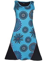 Damen-Ärmelloses Kleid mit Front-Mandala-Print und Handstickerei