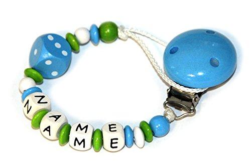Preisvergleich Produktbild Baby Schnullerkette mit Perlen aus Holz und Wunschname. Blue Cube - Würfel