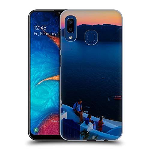 Head Case Designs Offizielle Haroulita Terrasse Santorini Sonnenuntergang Harte Rueckseiten Huelle kompatibel mit Samsung Galaxy A20 / A30 (2019) - Terrasse Sonnenuntergang
