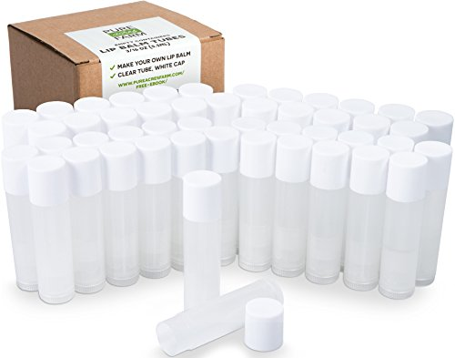 Pure 50 Lip Balm Containers - Empty Tubes - Make Your Own Lip Balm - 3/16 Oz (5.5ml) (50 Tubes, Clear)