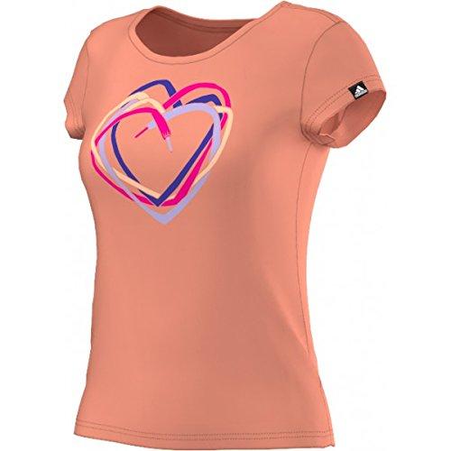 adidas Heart Tee Maglietta, Donna, Arancione/Blu/Rosa/Giallo, S