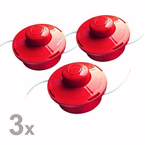 Nemaxx 03FS2 3x Fadenspule mit Tippautomatik Doppelfadenkopf Fadenkopf Mähkopf Mähfaden Nylonschnurrolle Grasschneider Zubehör Ersatz Spule für Benzin Motorsense, rot