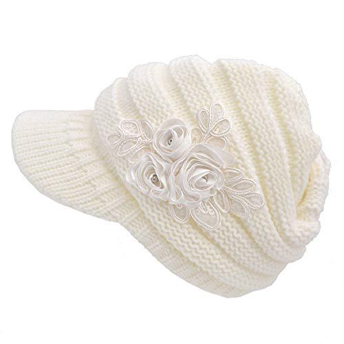 heekpek Europa und die Vereinigten Staaten Herbst und Winter Explosionen Gestrickte Hüte Gezeiten Winter Warme Ohrenschützer Damen Wollmütze Kappe (Weiß)