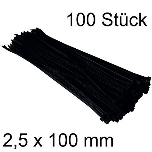 DKB Qualitäts Nylon Kabelbinder Schwarz (100, 2,5 x 100 mm)